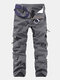 Mens Solid Color Multi-pocket 100%Cotton Casual Cargo Pants Outdoor Straight Trousers