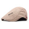 Men's Comfortable Cap Spring And Summer Embroidery Cotton Adjustable Fashion Beret Cap - Khaki