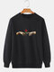 Mens 100% Cotton Hands Rose Pattern Print Solid Color Loose Daily Sweatshirt - Black