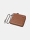 Men Genuine Leather Chains Money Clips Coin Purse Wallet - Brown 3