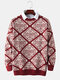 Mens Christmas Letter Pattern Crew Neck Knit Vintage Pullover Sweaters - Red