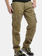 Mens Fleece Lining Thickened Outdoor Tactical Pants Multi Pockets Cargo Pants - Khaki