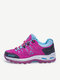 Women Comfy Suede Slip Resistant Lace Up Hiking Shoes - Rose