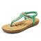 LOSTISY Women Clip Toe Rhinestone Comfy Elastic Beach Flat Sandals - Green