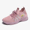 Women Knitted Striped Detai Comfy Breathable Sports Sock Casual Sneakers - Pink