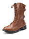 Women Large Size Round Toe Lace Up Casual Wearable Mid-Calf Boots - Brown