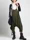 Sleeveless Straps Button Side Pocket Loose Plus Size Jumpsuit  - Army