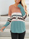 Ethnic Print Patchwork O-neck Long Sleeve Plus Size Blouse for Women - Green
