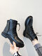 Women Comfy Solid Color Warm Lined Patchwork Motorcycle Boots - Black