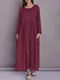Solid Color Button Pocket Long Sleeve Casual Dress for Women - Wine Red