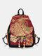 Women Ethnic Peacock Embroidery Tassel Backpack - Wine Red