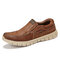 Menico Mens Light Weight Outdoor Walking Shoes Slip On Loafers - Brown
