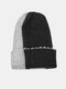 Unisex Knitted Color-match Irregular Patchwork All-match Warmth Beanie Hat - Black+Gray