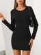 Solid Color O-neck Long Sleeve Mini Casual Dress For Women - Black