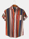 Mens Ethnic Colorful Vertical Stripe Printed Holiday Casual Short Sleeve Shirt - Blue