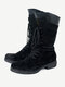 Women Solid Color Casual Lace Up Side Zipper Mid-Calf Boots - Black