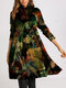 Turtleneck Multi-color Print Long Sleeve Casual Dress For Women - Green