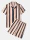 Men Stripe Print Pajamas Set Faux Silk Sleepwear Home Seamless Cozy Loungewear - Coffee