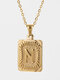 Vintage Gold Square Stainless Steel Letter Pattern Pendant - N