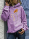 Cat and Flower Print Long Sleeve Casual Hoodies for Women - Light purple
