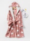 Women Star Print Fleece Thick Lace-Up Double Pockets Casual Home Warm Hooded Robes - Pink