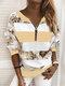 Vintage Printed Long Sleeve V-neck Zip Front Sweatshirt For Women - Yellow