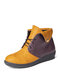 Large Size Women Splicing Comfy Wearable Fordable Lace-up Flat Ankle Boots - Yellow