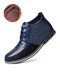 Men Microfiber Leather Rivet Lace Up Business Casual Ankle Boots - Blue(Plush Lining)