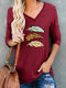 Feather Printed V-neck Long Sleeve Casual Women T-Shirt - Wine Red