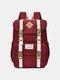 Women Waterproof Patchwork Large Capacity Travel Backpack School Bag - Red