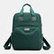 Women Casual USB Charging Multifunction Solid School Bag Backpack - Green
