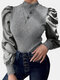 Solid Color Patched Turtleneck Long Puff Sleeve Blouse - Grey
