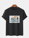Mens Cactus Scenery Graphic 100% Cotton Casual Short Sleeve T-Shirts - Black