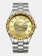 Large Dial Men Business Watch Steel Band Luminous Calendar Waterproof Quartz Watch - #05