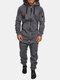 メンズフード付きジャンプスーツ全体ダブルオープンジップアップジョガーメンズカバーオールスウェットスーツ - グレー