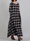 Two Tone Plaid Big Pocket Plus Size Baggy Maxi Dress - Black