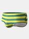 メンズセクシービッグストライプクイックドライドローストリングビーチスイムウェアブリーフ - 黄