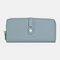 Women 10 Card Slots Zipper Long Wallet Purse - Grey
