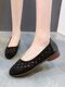 Women Casual Hollow-out Rhinestone Ballet Flat Shoes - Black