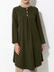 Solid Color Button Front Long Sleeve Maxi Blouse For Women - Green
