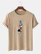メンズ100%コットン無地漫画宇宙飛行士プリントルーズシンTシャツ - カーキ