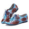 SOCOFY Vintage All-leather Dyeing Cutout Floral Lace up Blue Flat Shoes - Blue