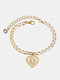 Luxury 26 English Letters Women Anklet Wild Heart Pendant Anklet Jewelry Gift - U