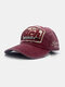 Unisex Washed Cotton Damaged Letter Embroidery Patched Fashion Baseball Cap - Wine Red