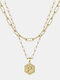 Luxury 14K Gold Plated Hexagonal Women Necklace Gold Layered Paperclip Link 26 Initials Pendant Necklace - P