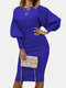 Solid Color Lantern Sleeves O-neck Casual Dress For Women - Blue