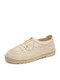 Women Woven Mesh Fabric Soft Comfy Elastic Slip On Fisherman Shoes Casual Hand Stitching Flat Shoes - Apricot