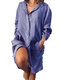Long Sleeve Loose Casual Solid Color Dress For Women - Blue