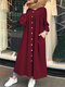 Casual Solid Color Crewneck Button Plus Size Dress with Pockets - Wine Red