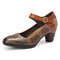SOCOFY Leather Floral Hollow Buckle Ankle Strap Chunky Heel Pumps Dress Shoes - Brown